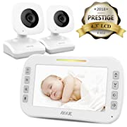 AXVUE E612 Video Baby Monitor with 4.3  LCD Screen and Two Cameras, Night Vision, 800 ft. Distance and 8H Battery Life, Auto-Scan, Two Way Talk, View Angle Adj, Power-Saving Video ON/Off