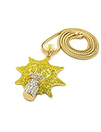 """Mens Iced Out Hip Hop Gold Plated Chief Keef Glo Gang Pendant W/ 36"""" Franco Chain"""
