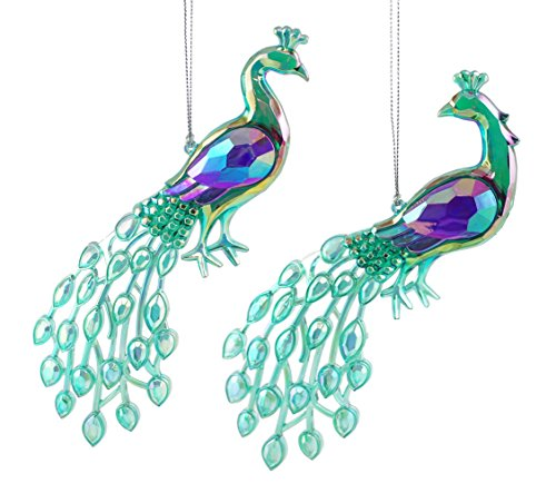 Magnificent Iridescent Peacock Hanging Christmas Ornament Set