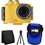 Intova DUB Waterproof Photo & Video Action Camera (Sport Yellow) + Intova Snap Sights Compact Neoprene Case SB21 + Tri-fold Memory Card Wallet + Table Top Tripod + Valued Accessory Bundle