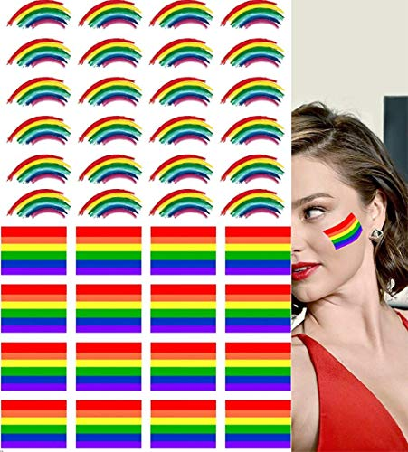 Fans Gay Pride Tattoos Temporary Rainbow Flag Tattoo Stickers For Party Pride Parades Festival Concert Baseball Basketball Game With Waterproof Body Paints Easy Removable