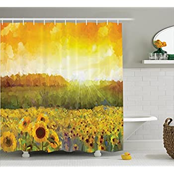 Sunflower Decor Shower Curtain Set By Ambesonne, Landscape Art With A  Golden Sunflower Field And Distant Hill At Sunset Warm Colors, Bathroom  Accessories, ...