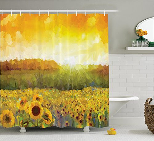 Sunflower Decor Shower Curtain Set By Ambesonne, Landscape Art With A Golden Sunflower Field And Distant Hill At Sunset Warm Colors, Bathroom Accessories, 69W X 70L Inches, Orange Yellow