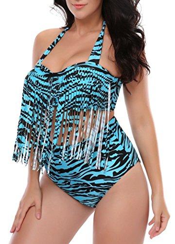 Zebra Fringe - American Trends Womens Plus Size Swimsuit Two Piece High Waisted Bikini Tassel Fringe Bathing Suit Push Up Swimwear Turquoise Zebra US Size 12-14(Size XL)