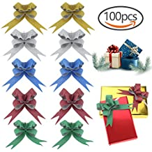 100 PCS Glittering Pull Bows Gift Knot Ribbon Strings for Valentine's Day Decoration, Gift Wrapping, Glittering Colors, 1.8 x 37cm