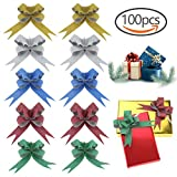 100 PCS Glittering Pull Bows Gift Knot Ribbon Strings for Christmas Decoration, Gift Wrapping, Glittering Colors, 1.8 x 37cm