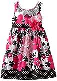 Youngland Girls 2-6X Sleeveless Floral And Dot Print Sundress, Pink/Black/White, 4 image