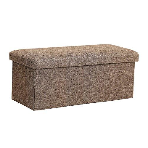 Ottoman Rectangular Fabric (InSassy Folding Storage Ottoman Bench Foot Rest Toy Box Hope Chest Linen-like Fabric - Medium - Brown)
