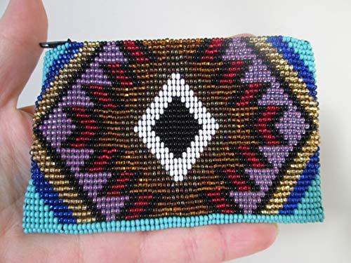 purple gold aztec hand beaded glass seed beads Fair trade Guatemalan handmade southwest design diamond native american geometric zig zag pattern zippered coin purse credit card holder pouch bag