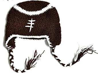 Baby Boy Girl Toddler Crochet Football Earflap Hat Party Costume Winter Beanie Cap Photo Props
