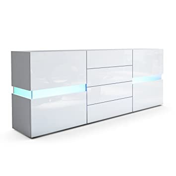 Vladon Sideboard Kommode Flow Korpus In Weiss Matt Front In Weiss