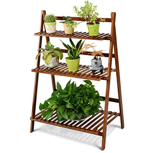 (COSTWAY Bamboo Ladder Shelf Foldable Multifunctional Plant Flower Display Stand Storage Rack Bookcase Bookshelf Natural (3 Tier)