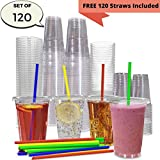 JUMBO Set of 120 16oz Plastic CRYSTAL CLEAR Cups, 120 Flat Lids and 120 Straws - 100% BPA Free - Office/Party Pack Disposable Cups Set for Iced Coffee, Bubble Boba, Smoothie, Tea, Cold Drinks etc