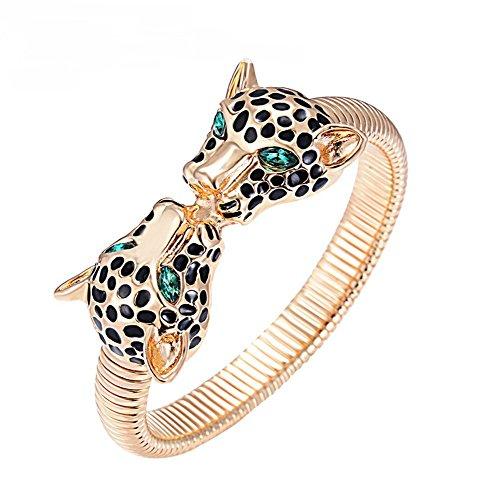 The Starry Night Handmade Gold Plated Three-dimensional Cheetah Head Shape Bangle Bracelet