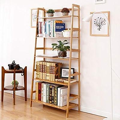 D&LE 5 Niveles Estante De Escalera Librería,Inclinada Bambú Estantería Librería Multifunción Estantería Almacenamiento para Libros Fotos Planta En Maceta Fácil Montaje Registros A 67.5x34x154cm: Amazon.es: Hogar