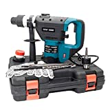 Rotary Hammer Drill 1-1/2 Inch SDS Electric Hammer Drill Set Includes Demolition Bits,Flat and Point Chisels