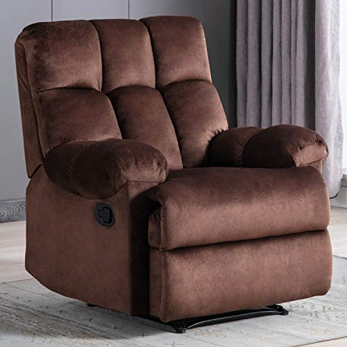 Bonzy Home Recliner Push Back Recliner Chair Comfortable Anti-Skid Short Flush Fabric Recliner Sofa Chair Home Theater Seating – Bedroom & Living Room Reclining Sofa Chair (Dark Brown)