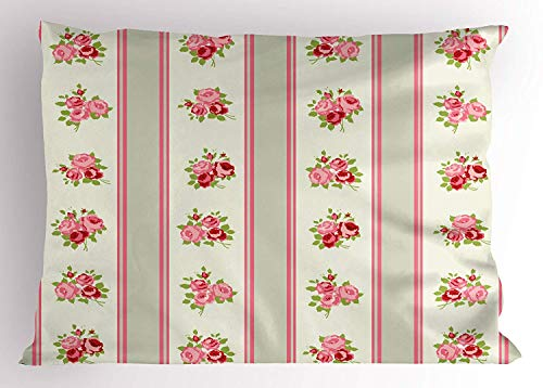 (K0k2t0 Shabby Chic Pillow Sham, Country Pattern with Vertical Borders and Corsages of English Roses, Decorative Standard Queen Size Printed Pillowcase, 30 X 20 inches, Pale Green Pink Cream)