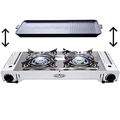 GAS ONE GS-2000 Dual Fuel Portable Propane & Butane Twin Stove with NON STICK GRILL Camping and Backpacking Gas Stove Burner with Carrying Case (Stainless Steel & White)