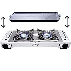 Gas One Gs-2000 Dual Fuel Portable Propane & Butane Double Stove With Non Stick Grill Camping & Backpacking Gas Twin Stove Burner With Carrying Case (Stainless Steel & White)