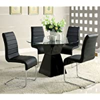 247SHOPATHOME Idf-8371T-BK-4PK Dining-Room-Sets, Black