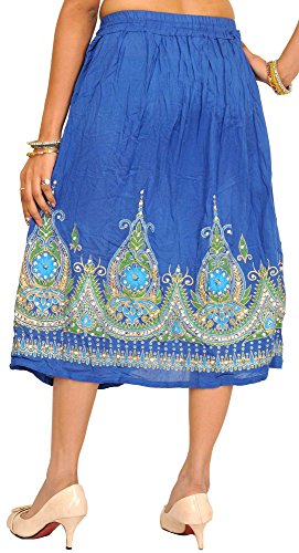 Skirt Flowers Oscuro nbsp;yellow Embelli With Exotic nbsp;– Printed Shed Midi Lentejuelas India De Azul qZUaAU