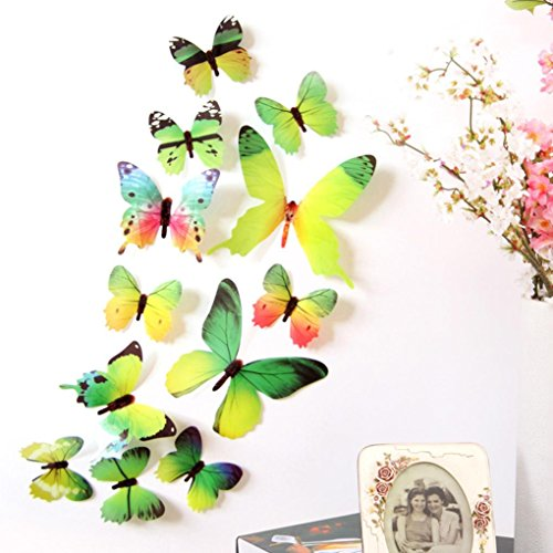 Iusun New ! 12Pcs 3D PVC Butterfly Wall Stickers Decals Home Decor Fridge (green)
