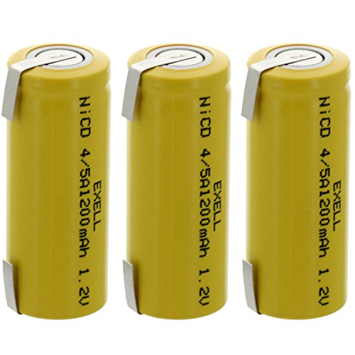 3x Exell 4/5A 1.2V 1200mAh NiCD Rechargeable Batteries with Tabs for meters, radios, hybrid automobiles, high power static applications (Telecoms, UPS and Smart grid), radio controlled devices -