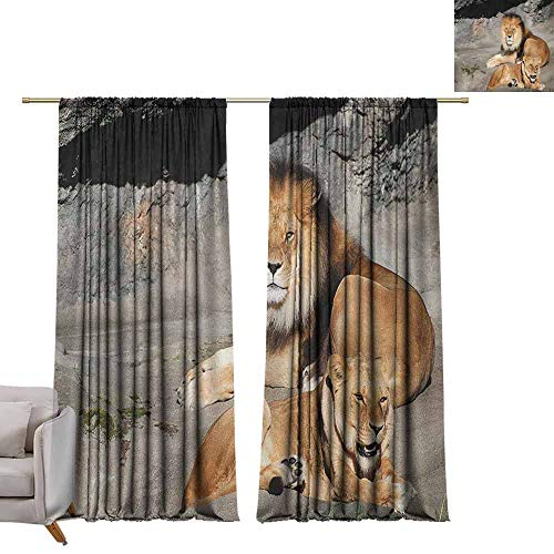 - Children Blackout Curtain Zoo,Male and Female Lions Basking in The Sun Wild Cats Habitat King of Jungle, Pale Brown Grey Yellow W96 x L84 Living Room Curtain