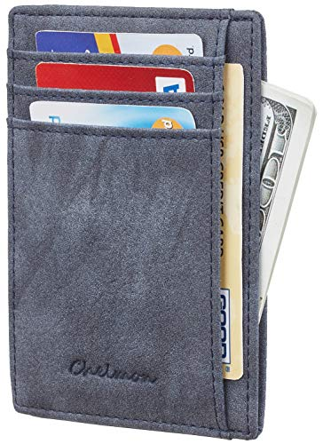 Chelmon Slim Wallet RFID Front Pocket Wallet Minimalist Secure Thin Credit Card Holder (Vinti Blue)