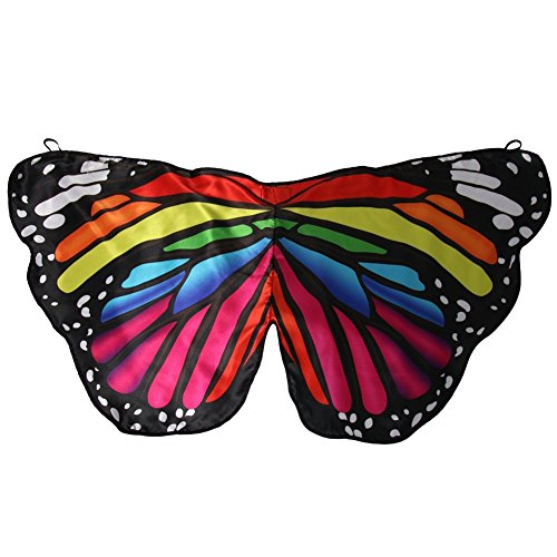 Purple Satin Butterfly Wings For Kids (Girls Satin Fabric Monarch Butterfly Rainbow Wings)