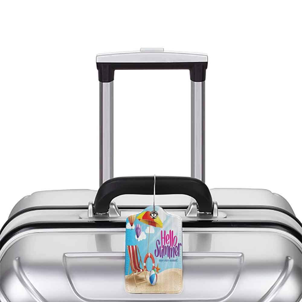 Flexible luggage tag Lifestyle Decor Hello Summer Enjoy Every Moment Quote with Sandy Beach Umbrella Holiday Design Fashion match Multi W2.7 x L4.6