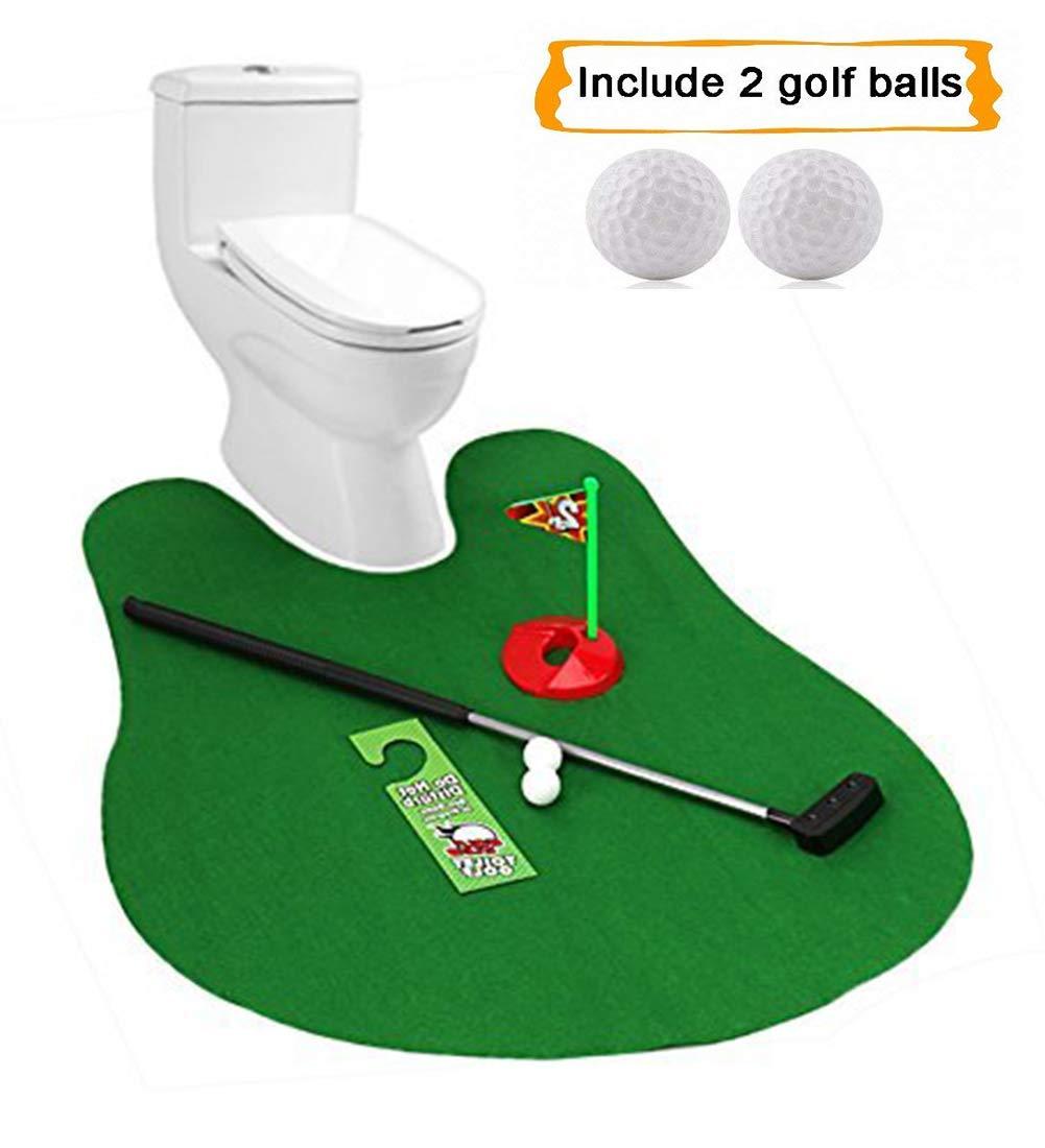 トイレ用ゴルフ トイレパター トイレパッティングマット ゴルフゲーム バスルーム ミニゴルフノベルティギャグギフトセット   B07JNKJYS1