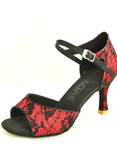 ShangYi Customizable Women's Dance Shoes Latin/Salsa Lace Customized Heel Black/Green/Red Red
