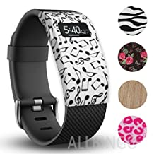 Fitbit Charge/HR Band Sock - More Styled and Super Cute - Fitbit Charge/Fitbit Charge HR Silicone Secure Band Cover Accessory with Different Colors and Patterns - Personalize Fitbit Charge/HR Wristband (Dancing Note x1)