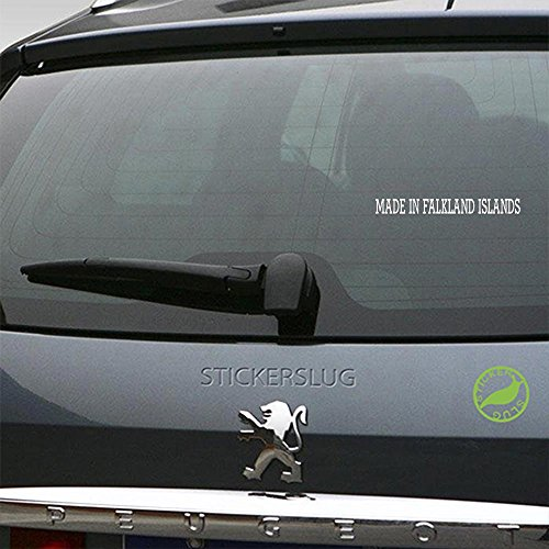 Stickerslug Made in Falkland Islands Decal (Gloss White, 36 inch) for car Truck Window SUV Boat Motorcycle and All Other auto Glass and Bumper in Gloss Vinyl ()