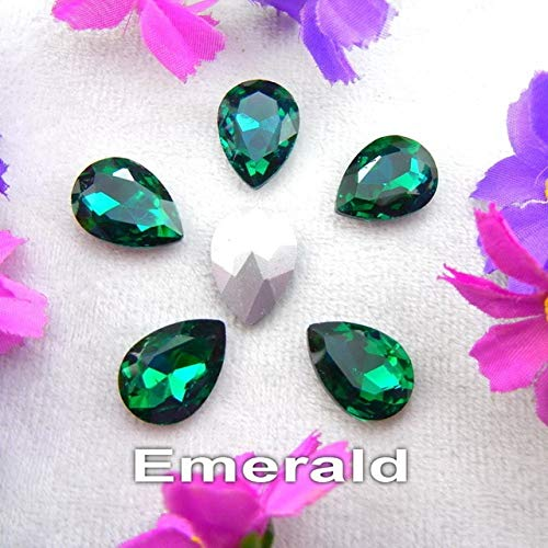 Pukido Glass Crystal 7 Sizes Nice Colors Waterdrop Water Drop Teardrop Shape Glue on Rhinestone Beads Handicraft Photo Frame DIY - (Color: A5 Emerald, Size: 10x14mm 20pcs)