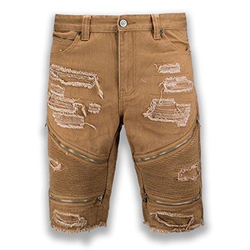 NEW Men Denim beige Khaki Ripped Distressed Shorts Bike Zipper Sizes 30-38 (34) Beige Denim Shorts