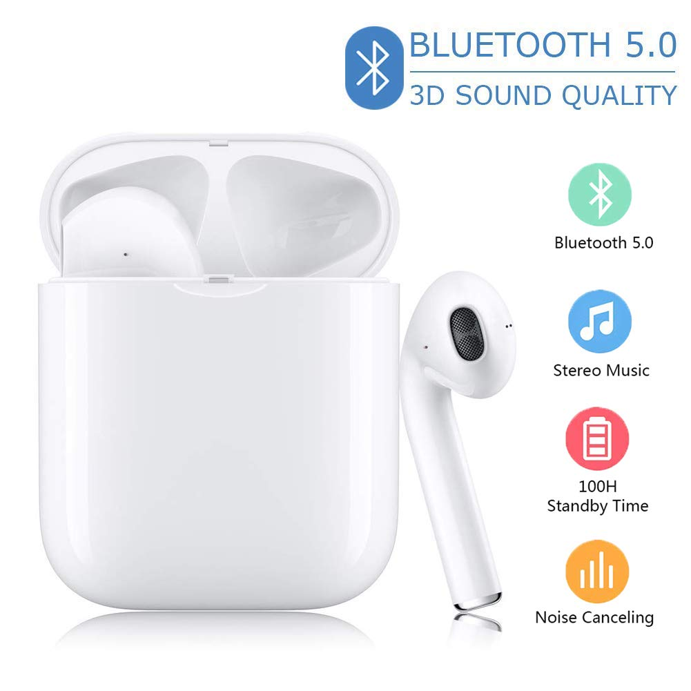 Bluetooth Headphones Bluetooth 5.0 Wireless Earbuds Stereo 24H Playtime Wireless Headphones Support Fast Charging Pop-ups Auto Pairing,for Android iOS Samsung iPhone Apple of airpod and Airpods