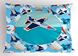 Ambesonne Kids Party Pillow Sham, Airplane Collection with Different Vessels Commercial Airline Balloon Cartoon, Decorative Standard Size Printed Pillowcase, 26 X 20 Inches, Multicolor