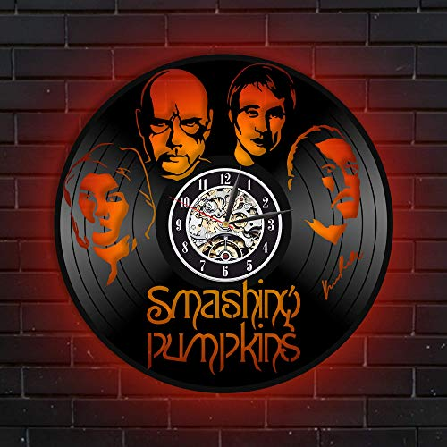 Levescale The Smashing Pumpkins Lighted Vinyl Wall Clock - Exclusive Rock Band Design for Boy Or Man - Decoration for Living Room, Club - Pumpkins Music Billy Corgan Oceania James Iha (Red)