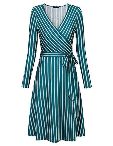 Ladies Dress Form (VALOLIA Midi Dresses, Form Fitting Dresses For Women V Neck Classy Maternity Dress Green and White X-Large)