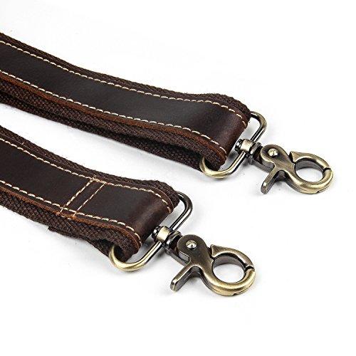 (Crazy Horse Leather Adjustable Padded Replacement Shoulder Strap with Metal Swivel Hooks for Briefcase, Luggage Bag Strap Messenger Bag Strap, Laptop Bag Strap (coffee))