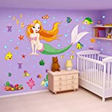 ufengke Colorful Mermaid Underwater World Wall Decals, Children's Room Nursery Removable Wall Stickers Murals