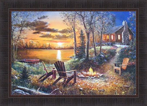 Fireside by Jim Hansel 24x33 Adirondack Chairs Camp Fire Log Cabin Sunset Lake Framed Art Print Picture
