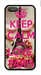 Keep Calm And Love Paris Cover Case Skin for iPhone 5 5S Soft TPU Black