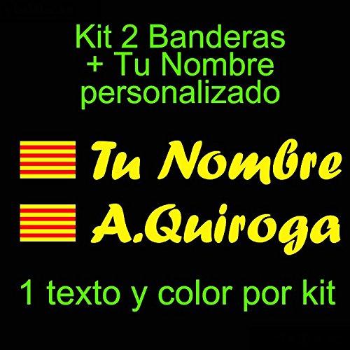 Vinilin - Pegatina Vinilo Bandera Cataluña + tu Nombre - Bici, Casco, Pala De Padel, Monopatin, Coche, etc. Kit de Dos Vinilos