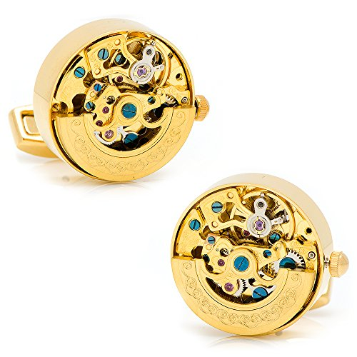Ox and Bull Trading Co. Gold on Gold Kinetic Watch Movement Cufflinks ()
