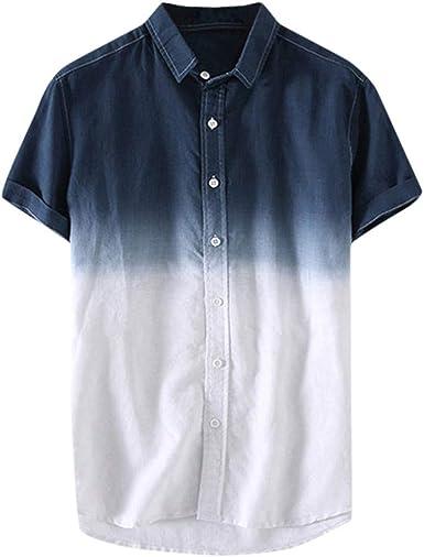 CAOQAO Camisas Hombre Manga Corta Blusa Suelta de los Hombres Camisa de Manga Corta Transpirable con Cuello Degradado Azul Naranja Verde Azul Marino: Amazon.es: Ropa y accesorios