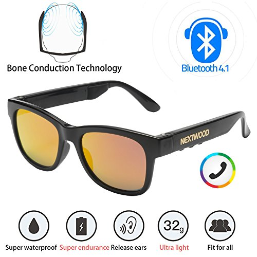 Bluetooth Headphones Wireless Stealth Headphones Glasses Sunglasses Bone Conduction Waterproof Intelligent Songs Artifact 6 Color Microphone Phone (Orange - Bone Sunglasses Bluetooth Conduction